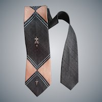 Gray and Pink Necktie Iconic 1960s Neck Tie