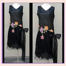1920s SILK Evening Gown Cocktail  Dress Bust 36 Hand Made Flowers Lace