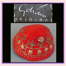 1930s - 1940s Gilbert Adrian ORIGINAL Reserved JF Beaded Hat with Hat Pin