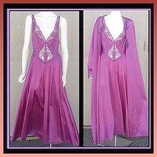 GORGEOUS SET! Extra Large Purple Olga Nightgown & Peignoir Bust 42 - 44