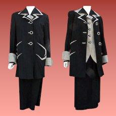 1940's Women's Suit Top Coat, Jacket, Skirt, Size Large L