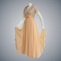 1960s Evening Gown Beaded Silk Chiffon Medium
