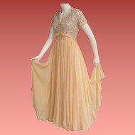 1960s Evening Gown Beaded Silk Chiffon Rhinestones Size Medium Md