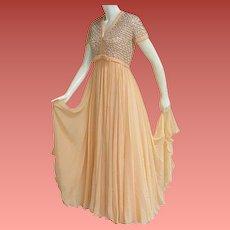 1960s Evening Gown Beaded Silk Chiffon Rhinestones Size Medium