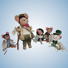 A Group of Five Adorable Annalee Mice