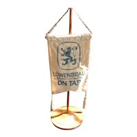 Rare Vintage Lowenbrau Bar Flag ( 2 sided) with Stand