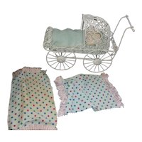 Vintage Ornate White Metal Baby Doll Carriage
