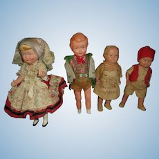 A Fine Group of Celluloid Dolls in Costume