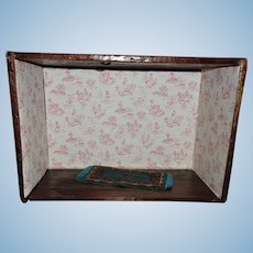 Old Cigar Box Doll Room with Rug