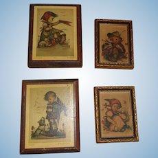 Set of 4 Vintage Hummel Pictures ( 2 originals from West Germany)