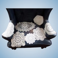 A Lot of Vintage Gorgeous Doilies and Table Scarfs