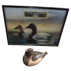 Tom  Taber / Hersey Kyle Wood Decoy Duck At Incredible Price with Print