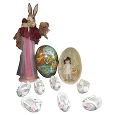 Small All Bisque Doll with Vintage Candy Containers and Egg