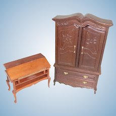 Vintage Queen Anne Style Dollhouse Armoire