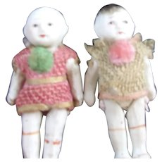 A Couple of Sweet Little All Bisque Dolls