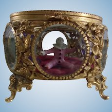 Stunning Oversized Rare Round Ormulo Beveled Glass Display Case