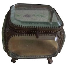 Wonderful Antique Cast Brass Jewelry Casket/Case