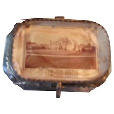 Antique Beveled Glass Souvenir Box with Lowther Castle of England