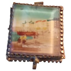 Antique Beveled Glass Top Box Depicting the French Le Panne Beach