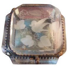 Beautiful Antique Beveled Etched Glass Trinket Box ( French?)