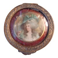 A Wonderful Antique Portrait Powder Case ( Needs TLC)