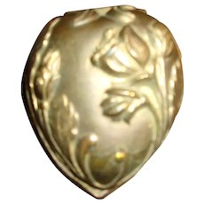 A Real Sweet Antique Gold Tone Heart Shaped Jewelry Box
