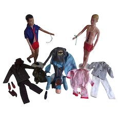 1960 Blonde and Brown Hair Ken Dolls ( Marked MATTEL) with Rare Batman Outfit and Others