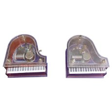 Vintage Pair of Lucite Grand Piano Music Boxes