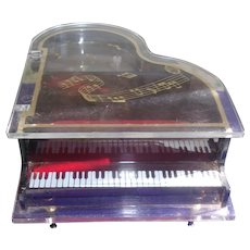 Vintage Lucite Baby Grand Piano Trinket Music Box
