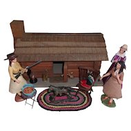 Vintage Log Home with Dolls and Miniatures