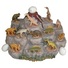 Vintage Volcanic Mountain Display with 12 Dinosaurs