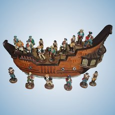 Vintage Pirate Ship Display with 16 Pirates