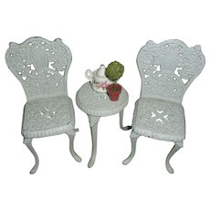 Sweet Vintage Wrought Iron Dolls Bistro Table and Chair Set with Extras