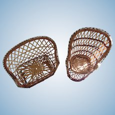 Wonderful Wicker Settee and Fan Back Chair for Dolls