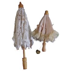 2 Vintage Beautiful Dolls Wood and Lace Parasols