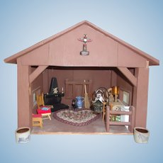 Sweet Vintage Brown Cabin with Miniatures
