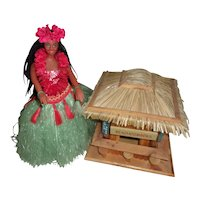 Sweet Vintage Dancing / Music Playing Hawiian Hula Girl with Tiki Hut