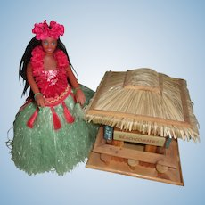 Sweet Vintage Dancing / Music Playing Hawiian Hula Girl with Tiki Hut