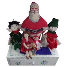 Vintage Elves, Santa, Doll and Dog