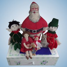 Vintage Elves, Santa, Doll and Dog