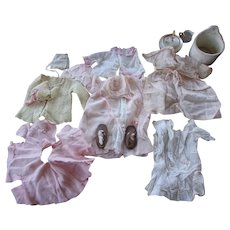 Beautiful Group of  Vintage Baby Doll Clothes, Bonnets, Booties and More