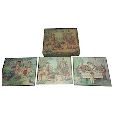 Antique Lithograph Childs Wooden Block Puzzle 1900's