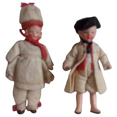 Beautiful Antique German Dollhouse Dolls in Costume