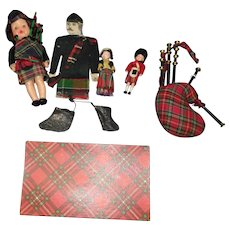 Antique Paper Scotsman, Bagpipes and Vintage Dolls