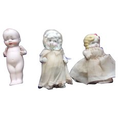 A Wonderful Trio of Japanese Bisque Dolls Includes a Nippon