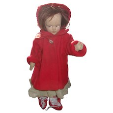 Pretty 13 Inch Early Lenci Type Felt Doll