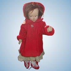 Pretty 13 Inch Early Lenci Type Felt Doll