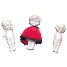 3 Sweet Vintage All Bisque Dolls 1 German, 1 Nippon, and 1 Needs Help