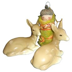 Artist Made Doll with 2 English Made China Deers