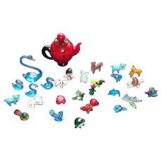 Set of Vintage Miniature Glass Animals with Glass Teapot